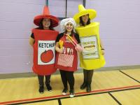 Class 1 Team: Ketchup is Mrs. Nadine (Educational Assistant), Boss of the Sauce is Mrs. Winiarski (Classroom Teacher), Fancy Mustard is Ms. Madison (AM EA support)